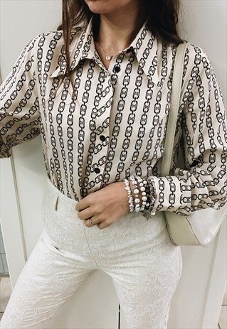 VINTAGE 60S LUXE PARISIAN CHAIN PRINT MOD BLOUSE SHIRT TOP