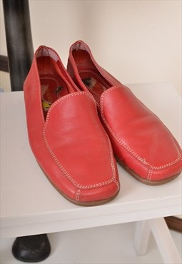Vintage 90s Leather Slip on Shoes Red UK 5