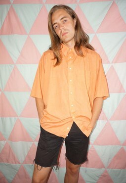Vintage 90s Light Orange Short Sleeve Shirt