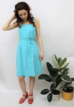 Vintage 1980s Turquoise Belted Sun Dress