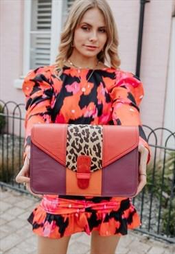 Sustainable Leather Crossbody Bag Nephele Leopard Print