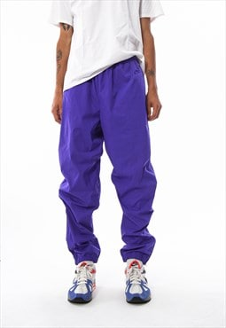 Vintage NIKE Nylon Tracksuit Pants 90s Purple
