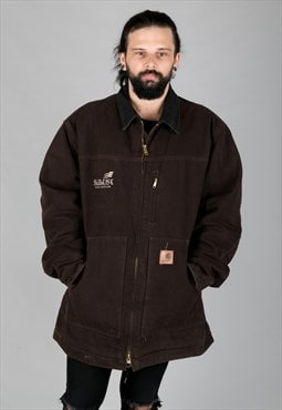 Vintage 90s Carhartt Longline Coat Fleece Lining Brown