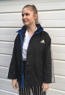 Womens Vintage 90s Adidas coat sportswear in blue and black