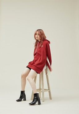 Oversized Hoodiedress in Red and White