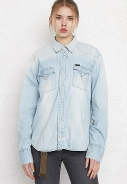 Vintage Blue LEE Long Sleeve Denim Shirt