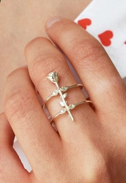 Silver Delicate Ring with Hands and Rose Handmade