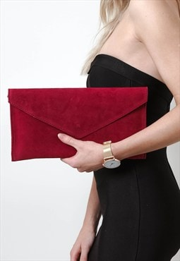 Suede Clutch Bag- Berry Red