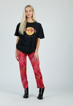 90s Red crazy pattern stretch trousers