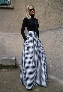 Gingham Long Skirt High-Low Waist Tafetta Maxi Skirt F1578