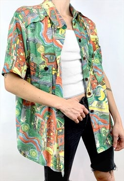 Vintage Unisex Abstract Geometric Pattern Print Shirt 90s