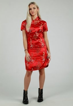 Vintage red oriental dragon party dress