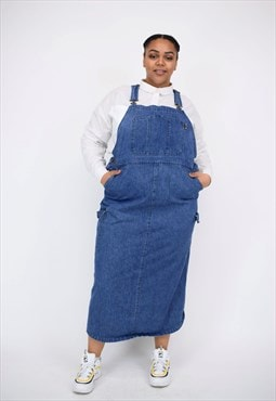 Vintage 90's Long Denim Pinafore Dress With Large Pocket