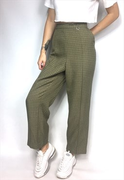Green Retro Checked Tapered Trousers