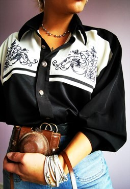 Vintage 90's oversize Western style black embroidery shirt