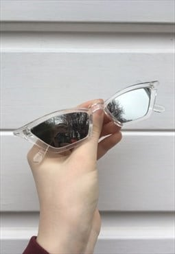 Womens Vintage 90s style clear silver thin pointy sunglasses