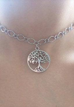 silver tree of life choker - chain choker necklace