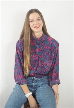 Vintage Pink, Blue and Purple Floral Blouse