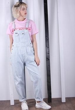 Vintage Blue Stripy Denim Dungarees 90s Overalls. Work Wear