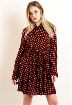 Long sleeves Vintage Diamond check Print Dress in orange