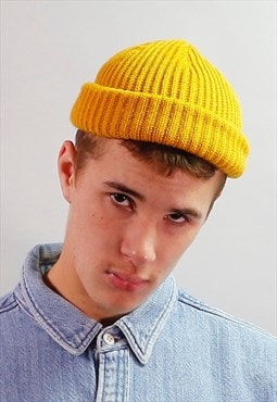 Mustard yellow docker trawler beanie fisherman hat