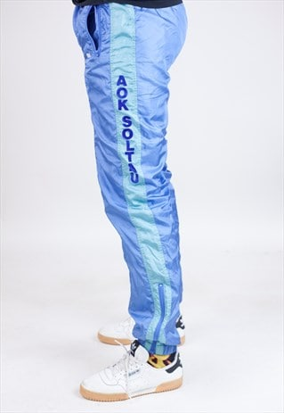 VINTAGE 90S ETIREL BLUE/GREEN SHELL TRACKSUIT BOTTOMS