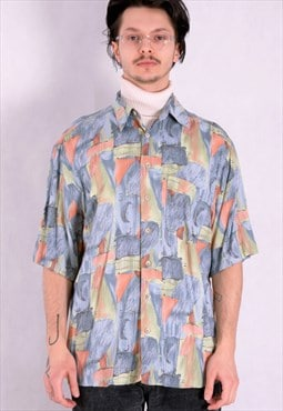 Men's Vintage 90s  shirt with short sleeve abstract print