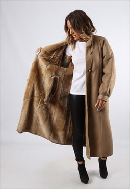 Sheepskin Leather Shearling Long Coat UK 16 (LH4L)