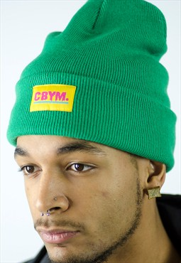 Green beanie with cbym yellow woven patch