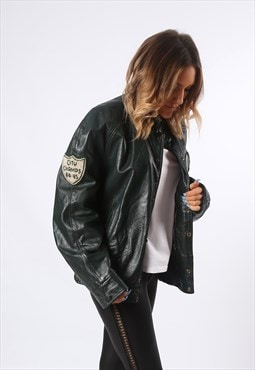 Leather Bomber CELTICS Jacket Varsity Boyfriend  RARE (GEDM)