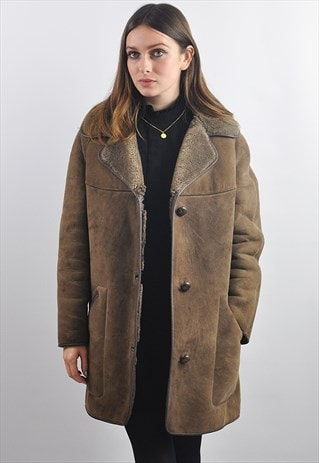 VINTAGE 1970S BROWN SELFRIDGES SHEEPSKIN SHEARLING COAT