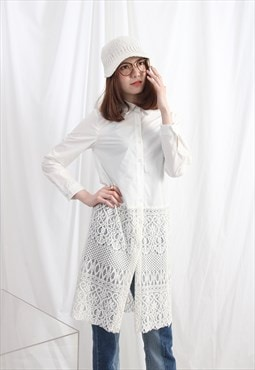(Korean) Lace Hem Boyfriend Shirt