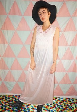 Vintage 60s Pastel Pink Sheer Nightie Slip Dress