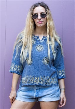 Vintage Embroidered Floral Tunic Top