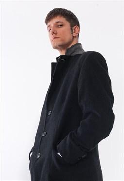 Vintage TOMMY HILFIGER Over Coat Wool Charcoal Grey
