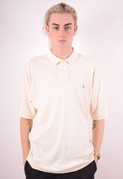 Polo Ralph Lauren Mens Vintage Polo Shirt Large White 90s
