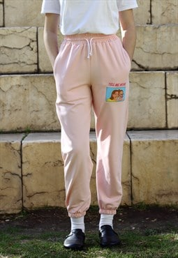 Handmade Sweatpants in Pink with Embroidered Patch