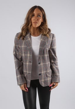 Vintage Fitted Blazer Jacket Tartan Wool Mix UK 12 M  (H4B)
