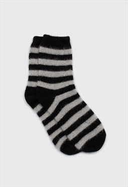 Black and grey striped angora socks