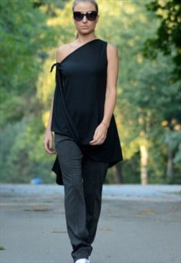 Black Maxi Tunic/Asymmetrical Tunic/Dress Maxi Top/Black Top