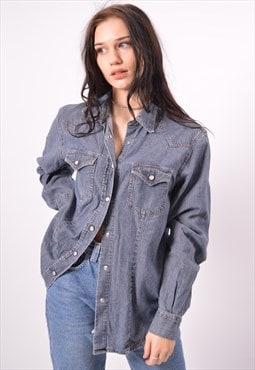 Vintage Benetton Denim Shirt Blue