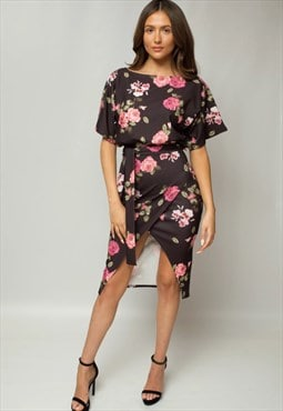 Black Arabella Floral Judith Wrap Front Batwing Dress