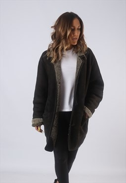 Vintage Suede Sheepskin Shearling Coat UK 16 XL  (B3C)