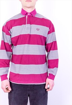 Vintage Fred Perry Striped Rugby Polo Shirt in Red & Grey