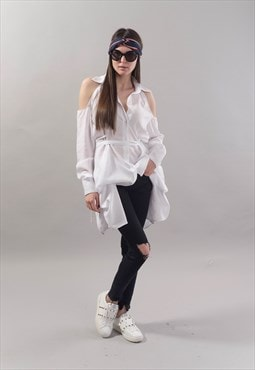 Oversized White Shirt Top Cotton Convertible Tunic F1803