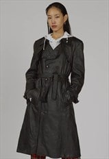 RARE vintage black leather 70's trench coat