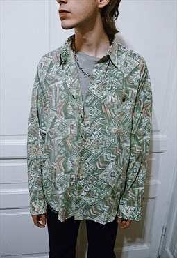 Vintage Abstract Patterned Green Shirt