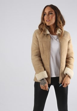 Vintage Sheepskin Suede Shearling Coat Short UK 4 - 6 (94D)