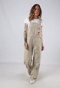 Cotton Dungarees Strawberry Wide Leg Vintage UK 10 (HK3I)