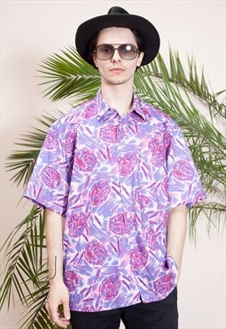 Mens vintage short sleeve, abstract print, button up shirt